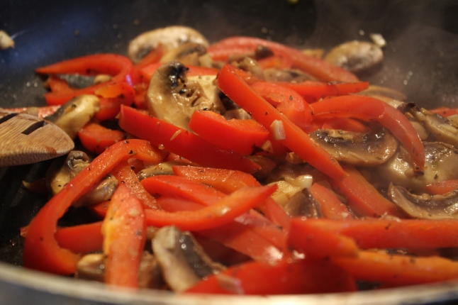Sauteed Red Pepper and Mushrooms