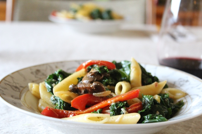 Penne with Kale and Sauteed Vegetables