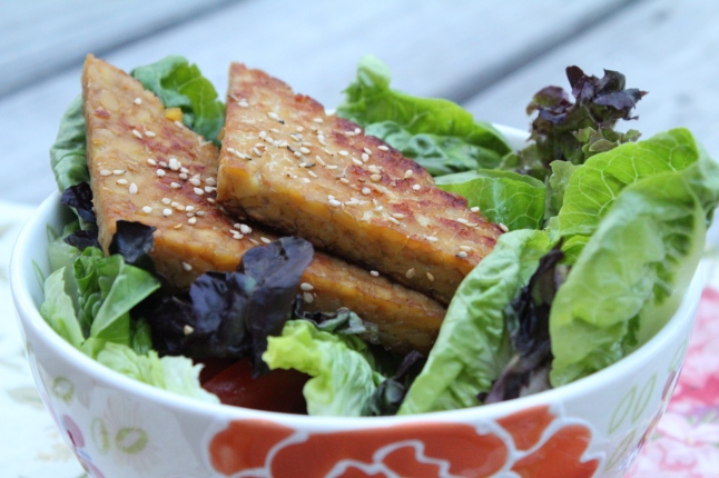 Maple Glazed Tempeh with Green Salad