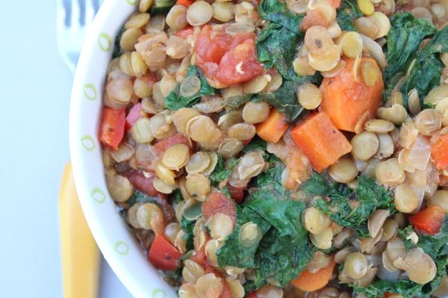 Lemony Kale + Lentil Rice Bowl