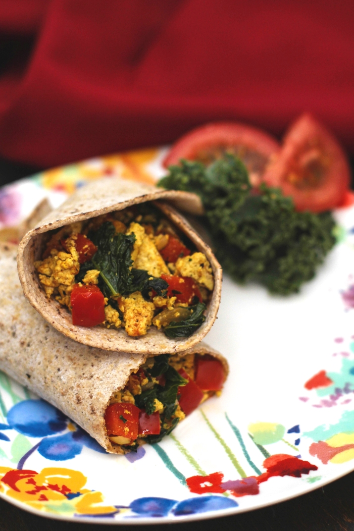 Tofu Scramble and Kale Burritos
